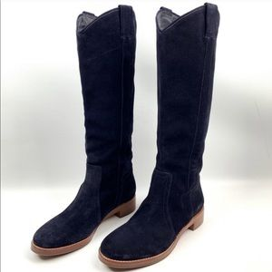 Via Spiga V-Gillian Midnight navy blue suede boots